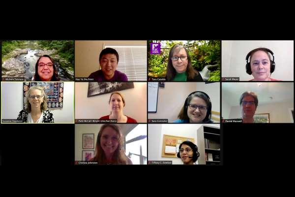 A video conference call of some members of the ARCS team. In the top row, from left to right: Michele Tennant, Hao Ye, Tara Cataldo, Sarah Meyer. In the middle row, from left to right: Suzanne Stapleton, Patti McCall-Wright, Sara Gonzalez and Daniel Maxwell. In the bottom row, from left to right: Chelsea Johnston and Tiffany Esteban.