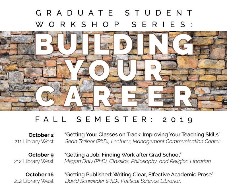 Flyer for Building Your Career graduate student workshop series
