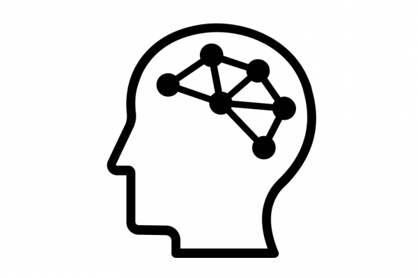 Stylized icon of a human head in profile, with a small network of 6 nodes where the brain would be.