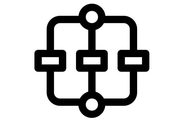 Stylized icon of a flowchart with a starting node at top connected to three rectangular nodes in the middle, which are then connected to one terminal node at the bottom.